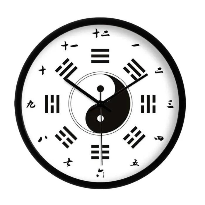 chinese style bagua horloge murale horloge murale moderne chinois numerals home decor 12