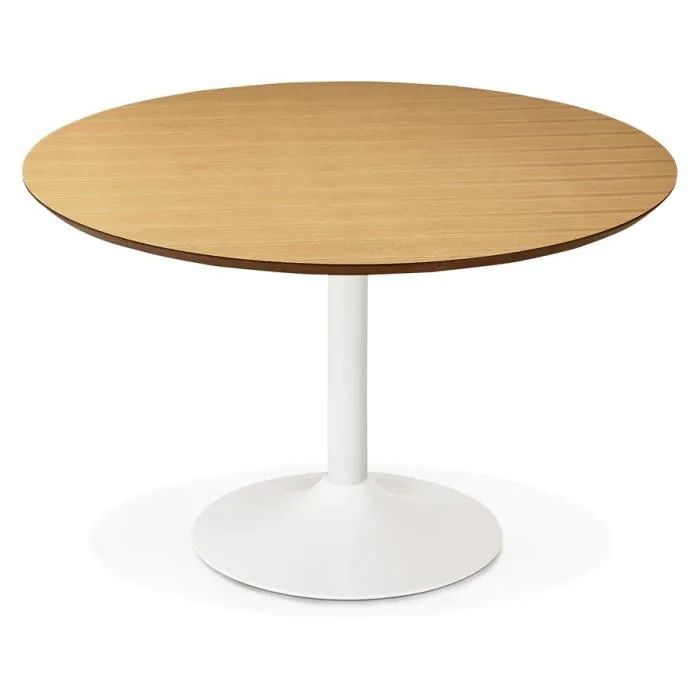 table a diner de bureau ronde barabar en bois finition naturelle o 120 cm