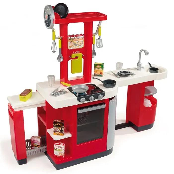 cuisine en bois rouge jouet