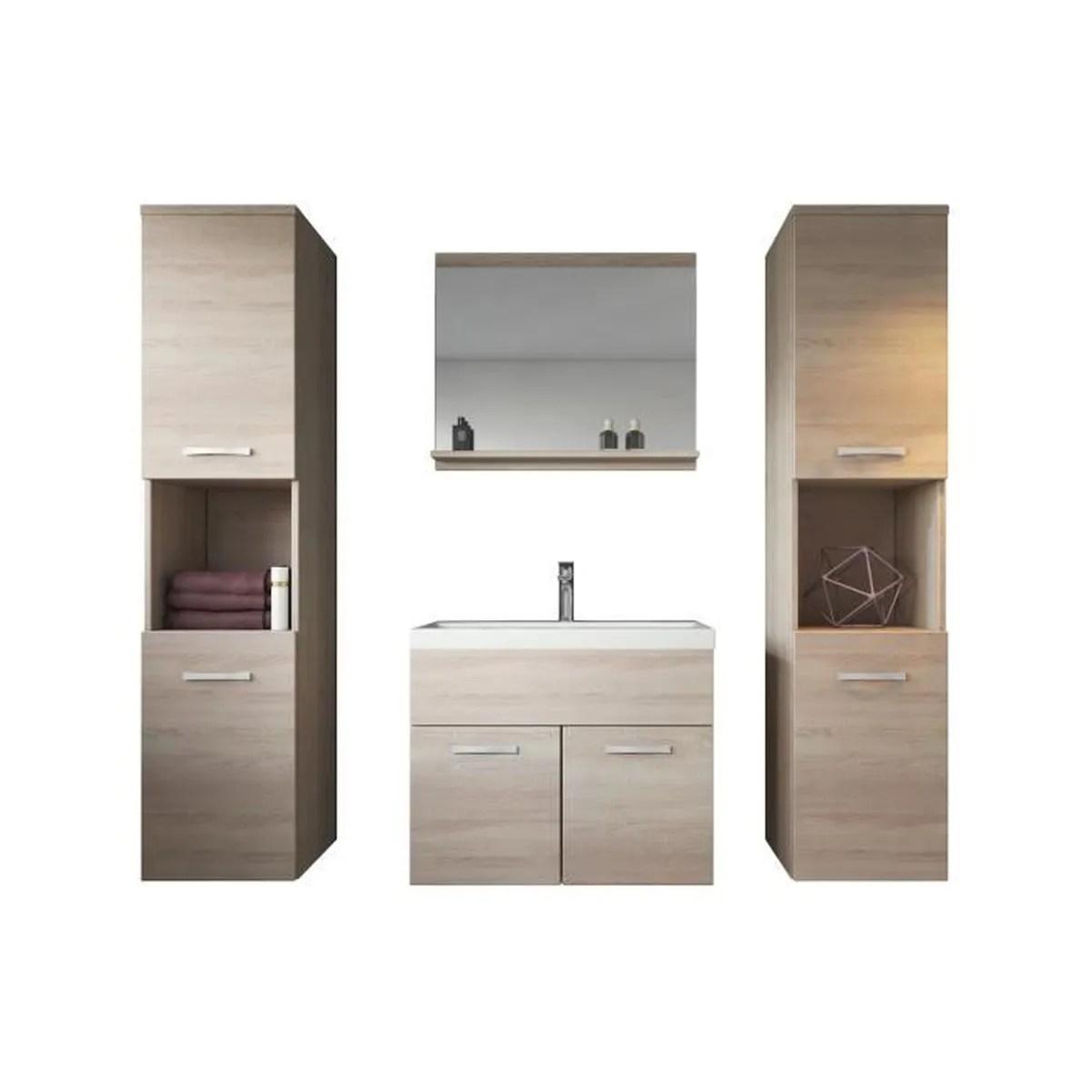 Meuble de salle de bain de Montral XL 60 cm bassin en bois chne clair sonoma  Armoire de