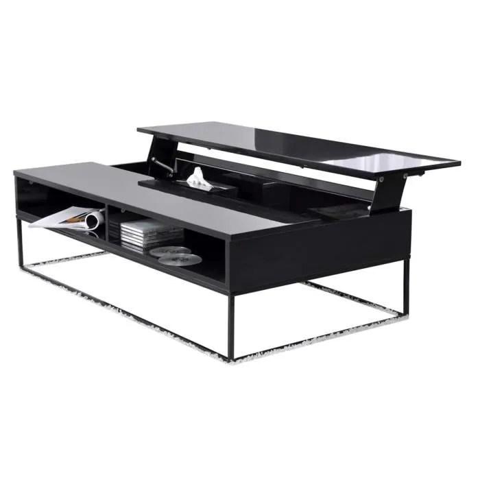 Mobilier Table Table Basse Relevable Noire
