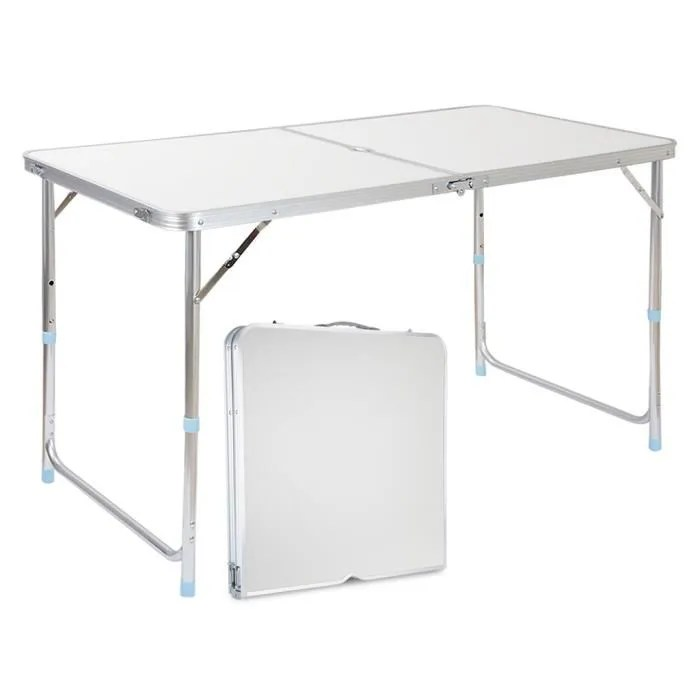 finether table de camping pliante 120x60x70 cm en aluminium portable pliable avec poignee de transport pour party buffet pique nique