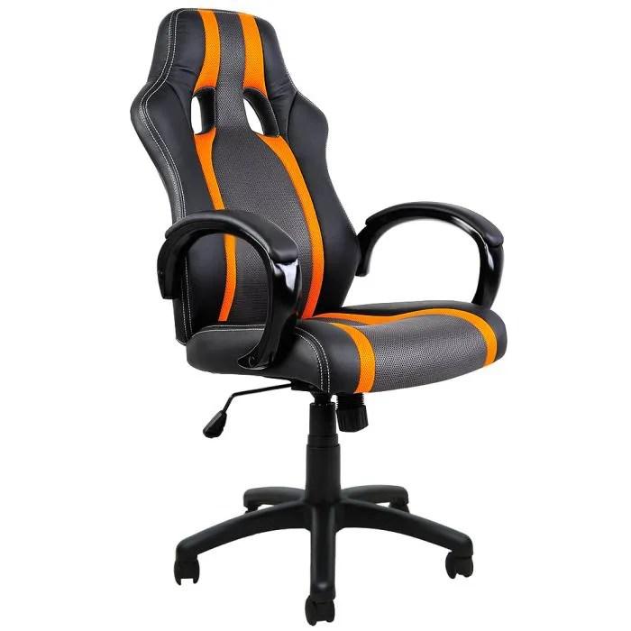 fauteuil de bureau noir orange type sport chaise de bureau jeu