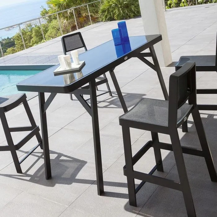 table haute bertioga noire  Achat  Vente table de jardin Table haute BERTIOGA NOIRE  Soldes
