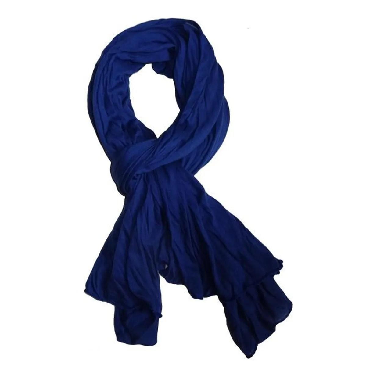fad4bc06be71 Chèche Bleu Echarpe Longue Foulard Homme Et Femme Aspect Froissé