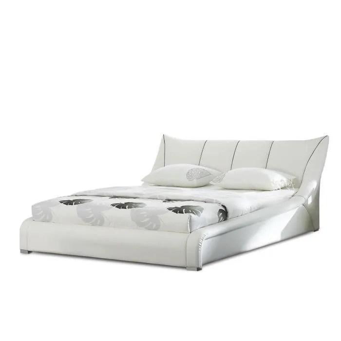 lit design en cuir lit double 180x200 cm blanc sommier inclus nantes