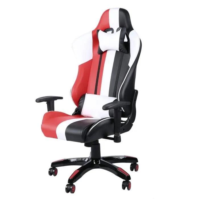 fauteuil gamer tricolor chaise de jeu siege gaming dossier inclinable 180 avec appui tete super