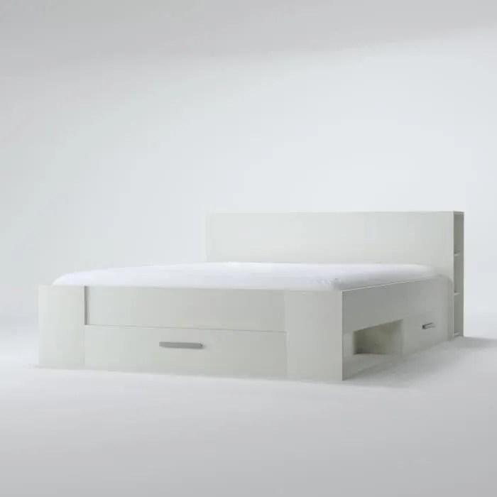 OXYGENE Lit Adulte Contemporain Blanc Mat L 140 X L 190