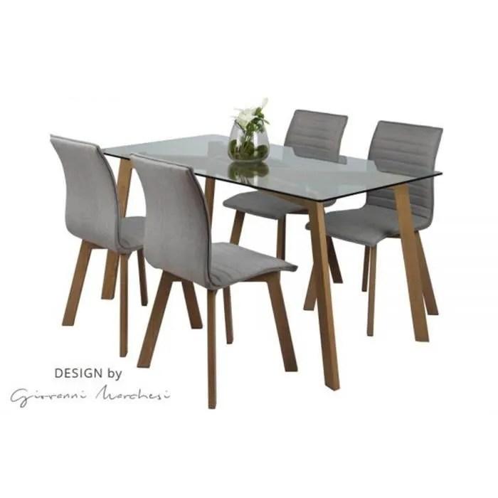 table de repas et 4 chaises scandinave chene clair dessus verre