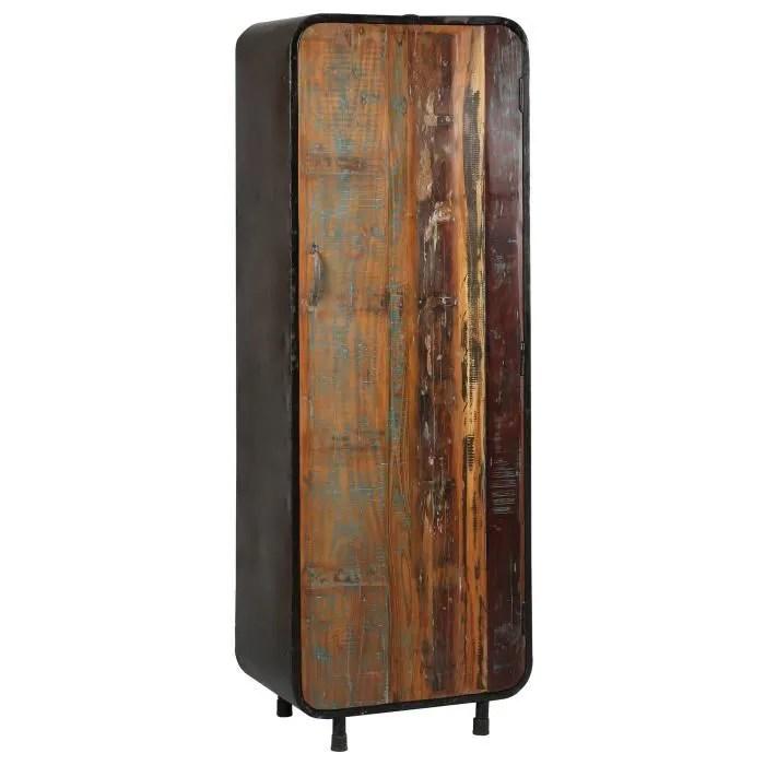 armoire 1 porte en acier et bois atelier metal