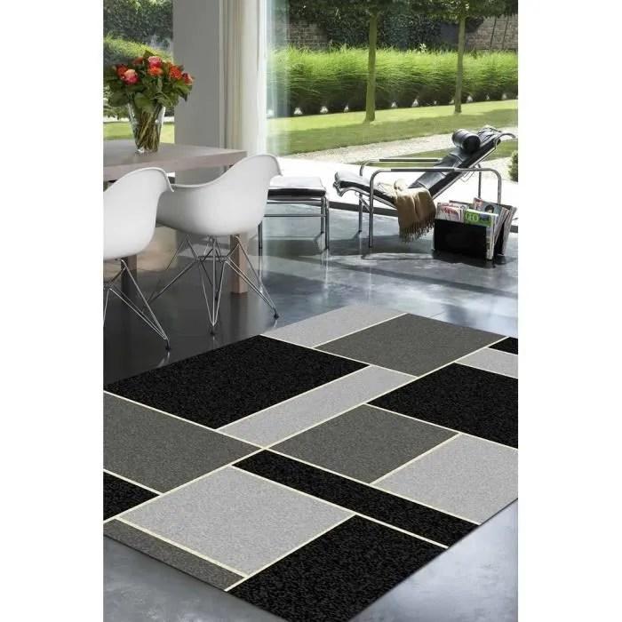 Tapis salon GEOMETRIQUE noir et gris UNIVERSOL  Achat  Vente tapis  Soldes dt Cdiscount