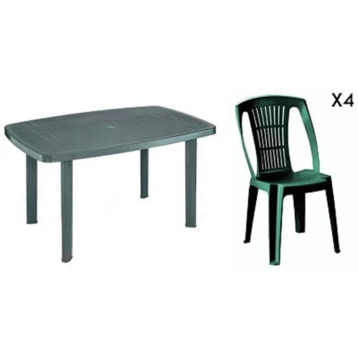 Table rectangulaire verte  4 chaises jardin plastique vert empilables  Achat  Vente salon de