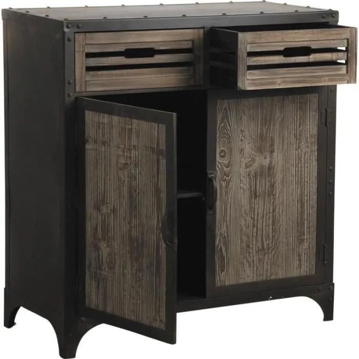 bahut en metal et bois avec 2 tiroirs et 2 port