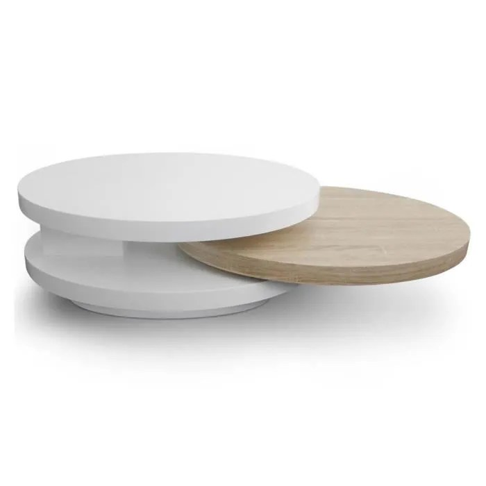 table basse design en bois laque chene et blanc domino