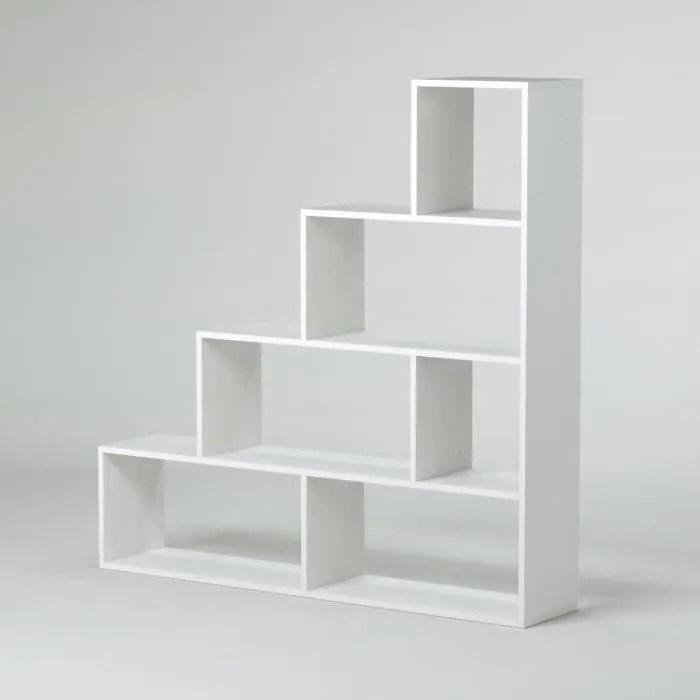 klum meuble escalier contemporain melamine blanc brillant l 145 cm
