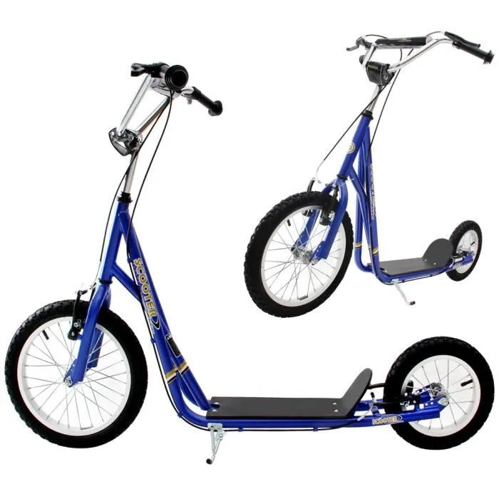 trottinette grande roue bleu sport