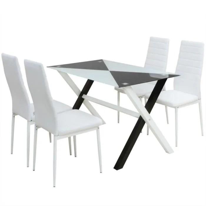 ensemble table et chaises de salle a manger 5 pcs en simili cuir b