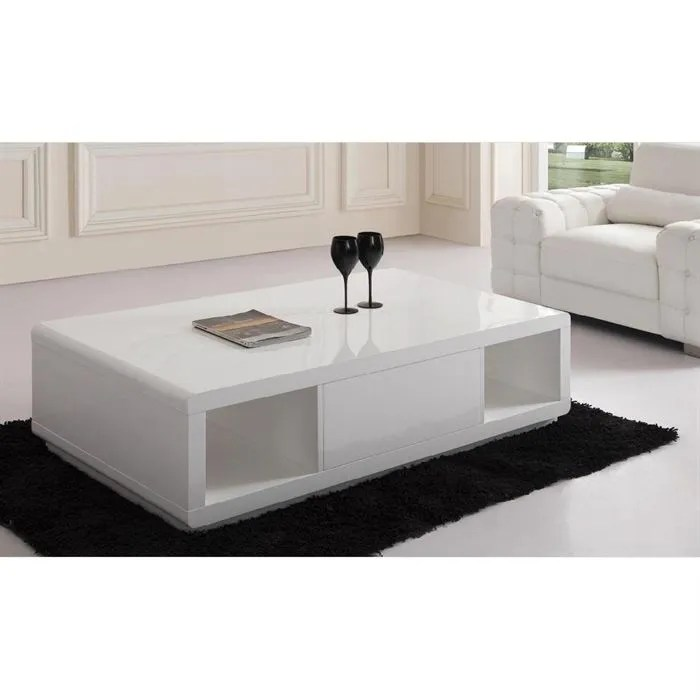 TABLE BASSE LAQUE BLANCHE ELODIE Achat Vente Table