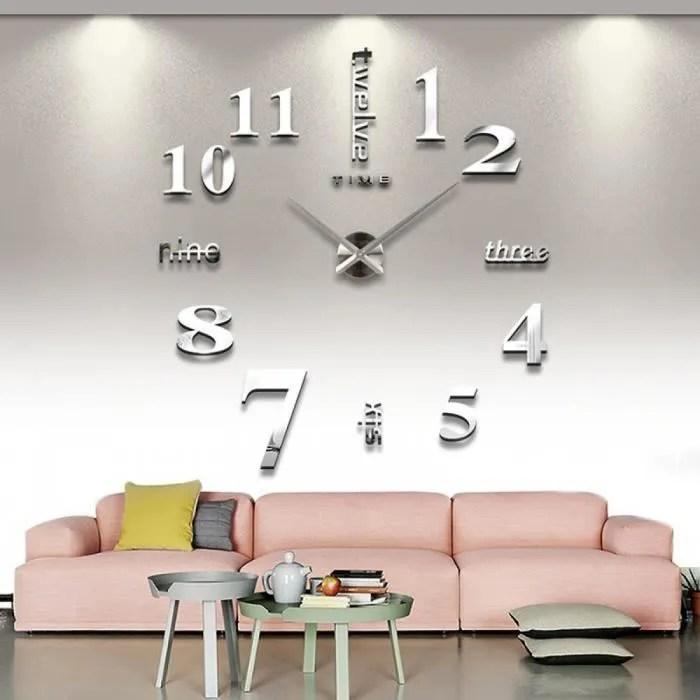 3d maison decoration horloge murale grande horloge murale miroir design moderne grande taille mur horloges sticker mural cadeau