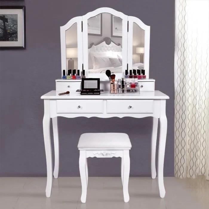 superbe grande coiffeuse table de maquillage style champetre avec 3 miroir 4 tiroirs et 1 tabouret rdt07w