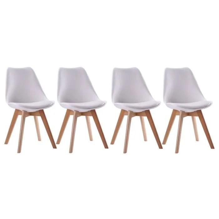 lot de 4 chaises scandinave nora blanches avec coussin