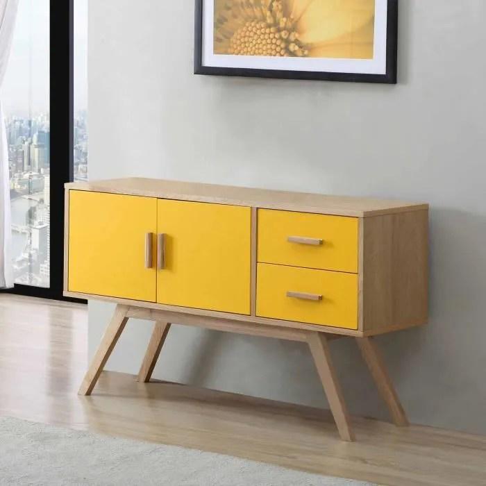 buffet en bois largeur 120cm avec 2 portes et 2 tiroirs vintage jaune
