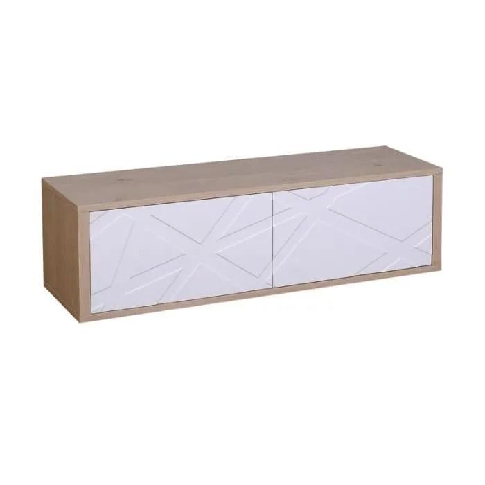 meuble tv 2 portes chene blanc jodie n 2 l 136 x l 40 x h 40 cm