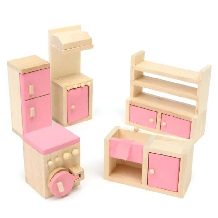 meuble poupee mobilier maison diette bois jouet enfant barbie cuisine