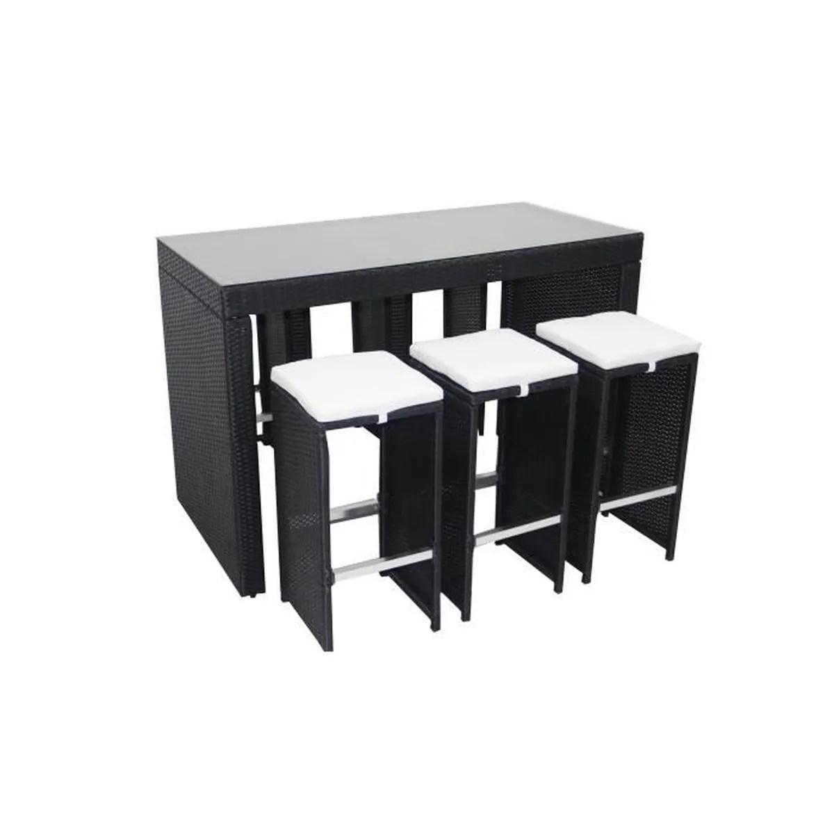 Ensemble Table Bar Résine Tressée + 6 Tabourets - Noir