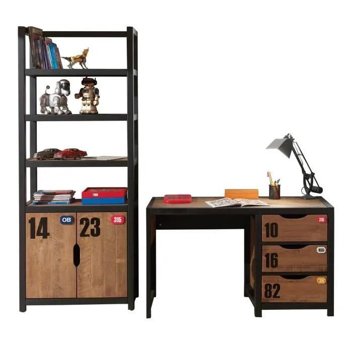 ensemble bureau contemporain et bibliotheque en coloris brun et noir