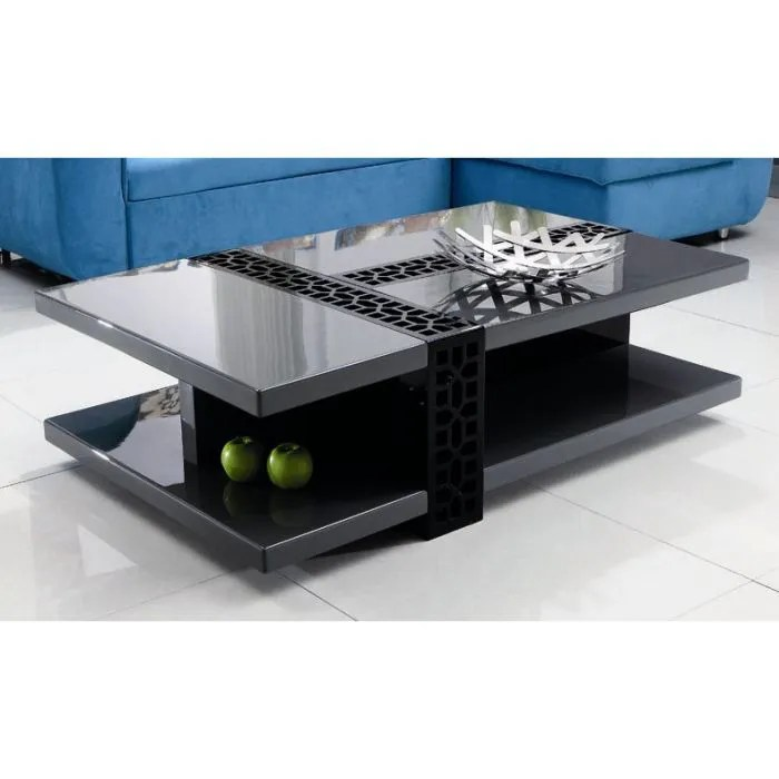 Maison meubles mobilier table basse design laque noir gris for Table basse gris anthracite