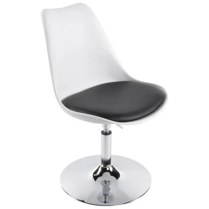chaise chaise pivotante blanche et noire reglable
