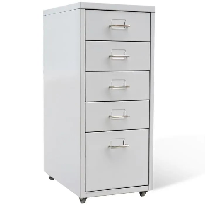 bureau metallique pour dossiers classeur en acier avec 5 tiroirs gris dimensions 28x41x68 5 cm