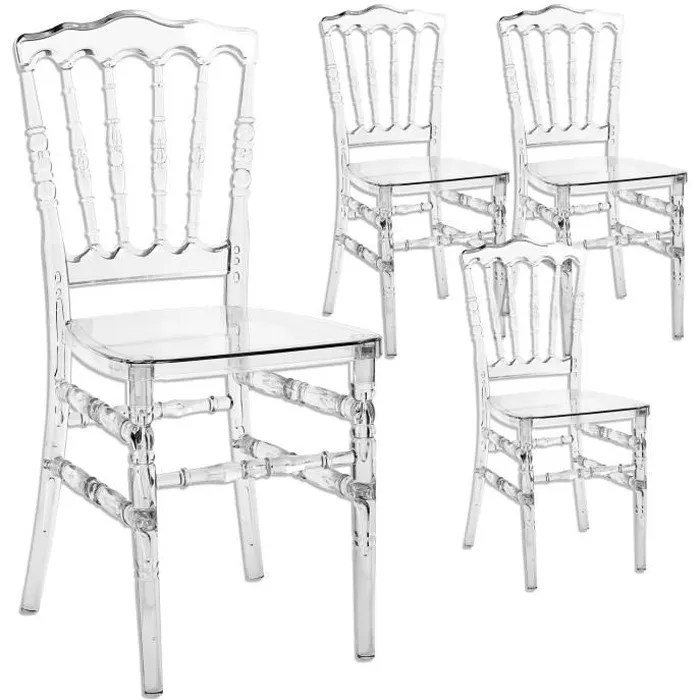 chaise lot de 4 chaises transparent en plexi napoleon