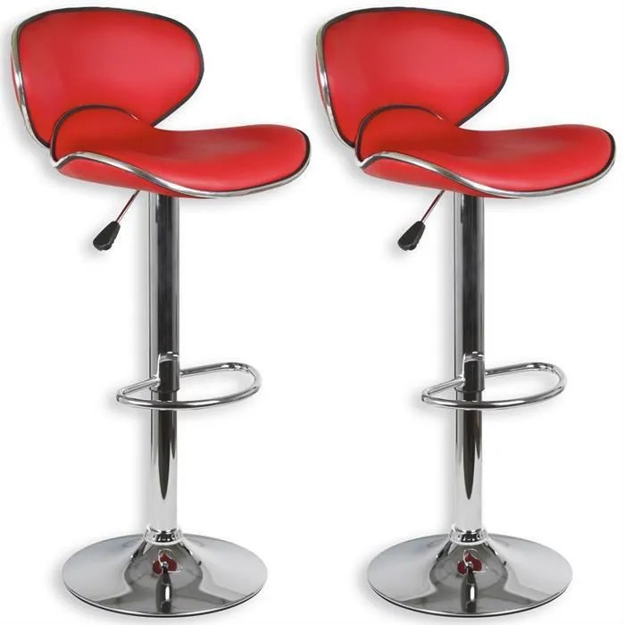 lot de 2 tabourets de bar lounge chaise haute design reglable avec dossier revetement synthetique rouge