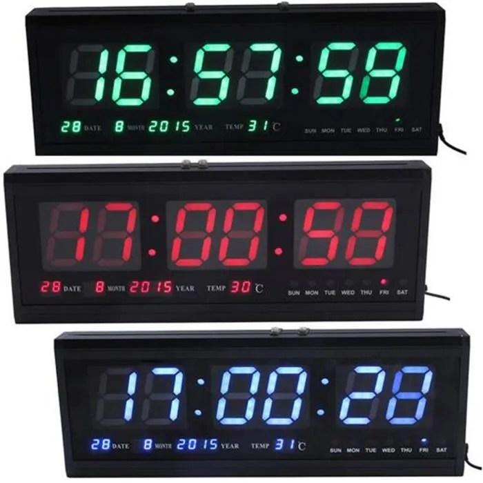 Horloge Murale Numrique Grand LED Digital Montre Quartz Date Temprature  Achat  Vente