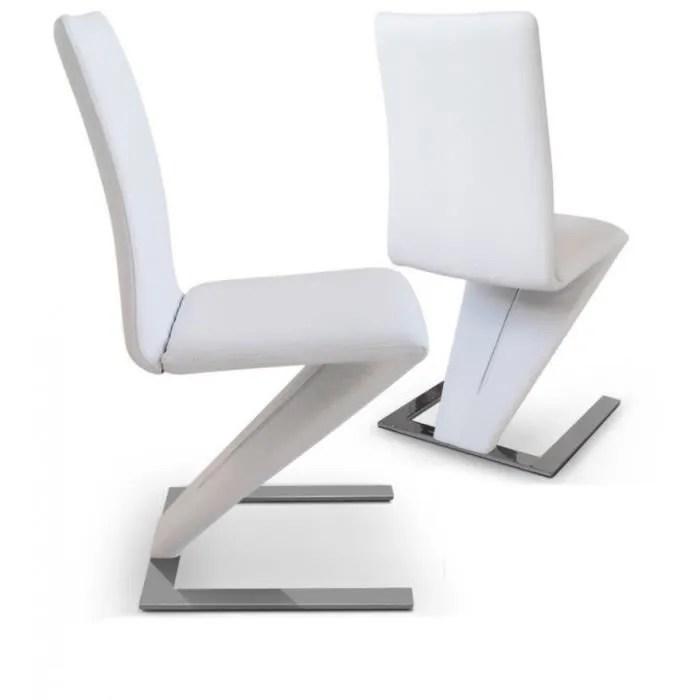 Lot de 2 chaises de salon ZAZ blanche  Achat  Vente chaise Inox polyurthane cuir  Cdiscount