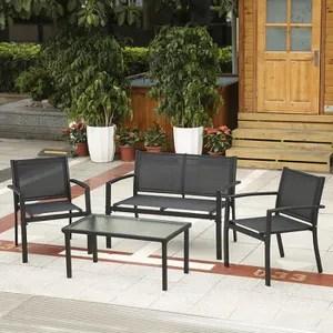 ikayaa 4pcs ensemble de chaises canape porche table meubles de jardin patio en plein air cadre en acier
