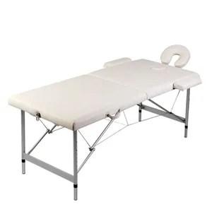 Table de Massage Pliante 2 Zones Crème Cadre en Aluminium
