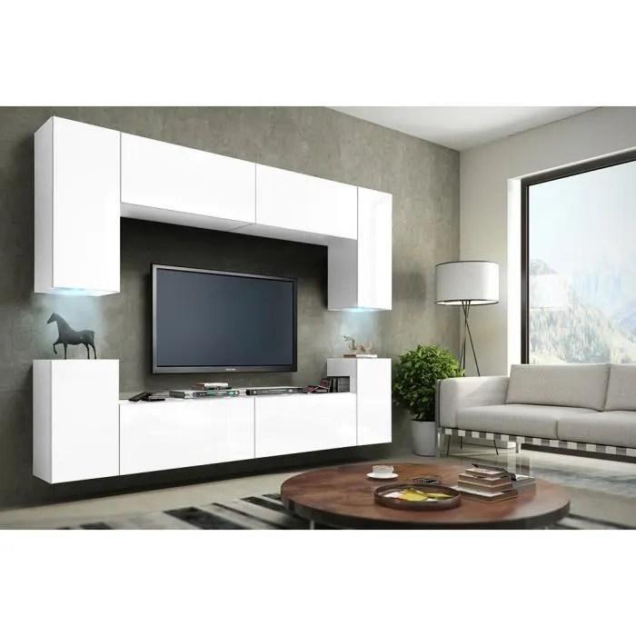meuble de salon meuble tv complet suspendu concept corps blanc mat facades blanches mat led meuble design et tendance