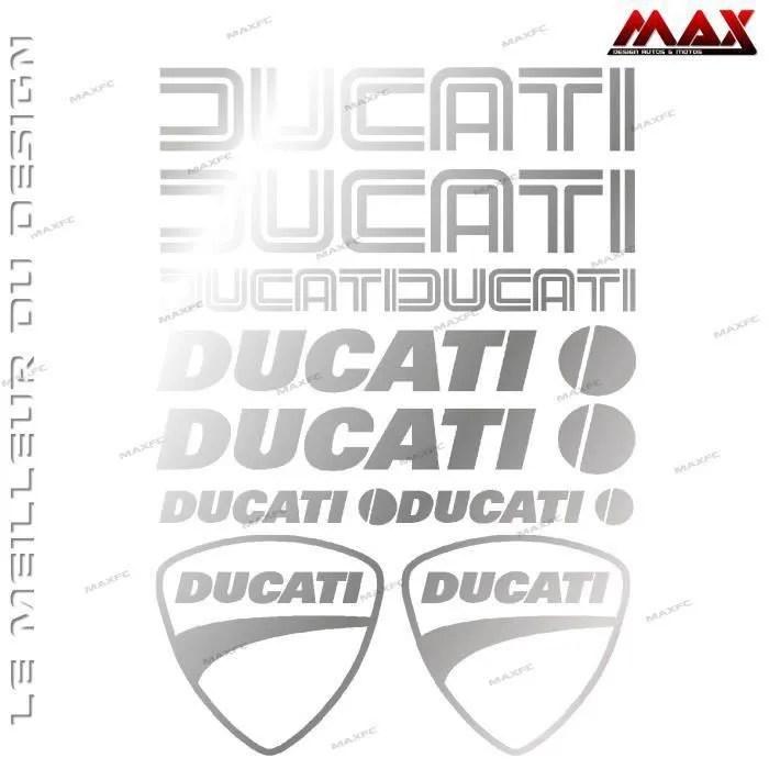 10 stickers DUCATI – ARGENT
