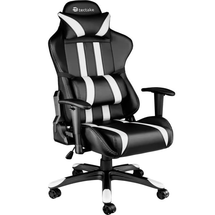 tectake chaise de bureau fauteuil de bureau racing sport rembourrage epais hauteur reglable inclinable pivotante noir blanc