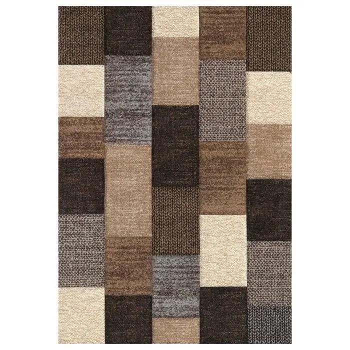BELIS Tapis 160x230 cm marron et beige et gris  Achat  Vente tapis 100 polypropylne  Les