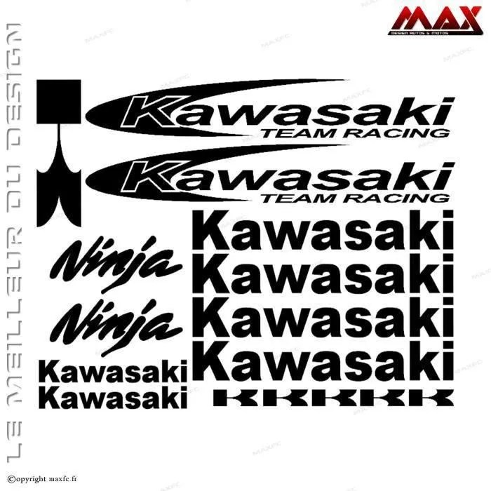 16 stickers KAWASAKI – NOIR – Team Racing – Ninja