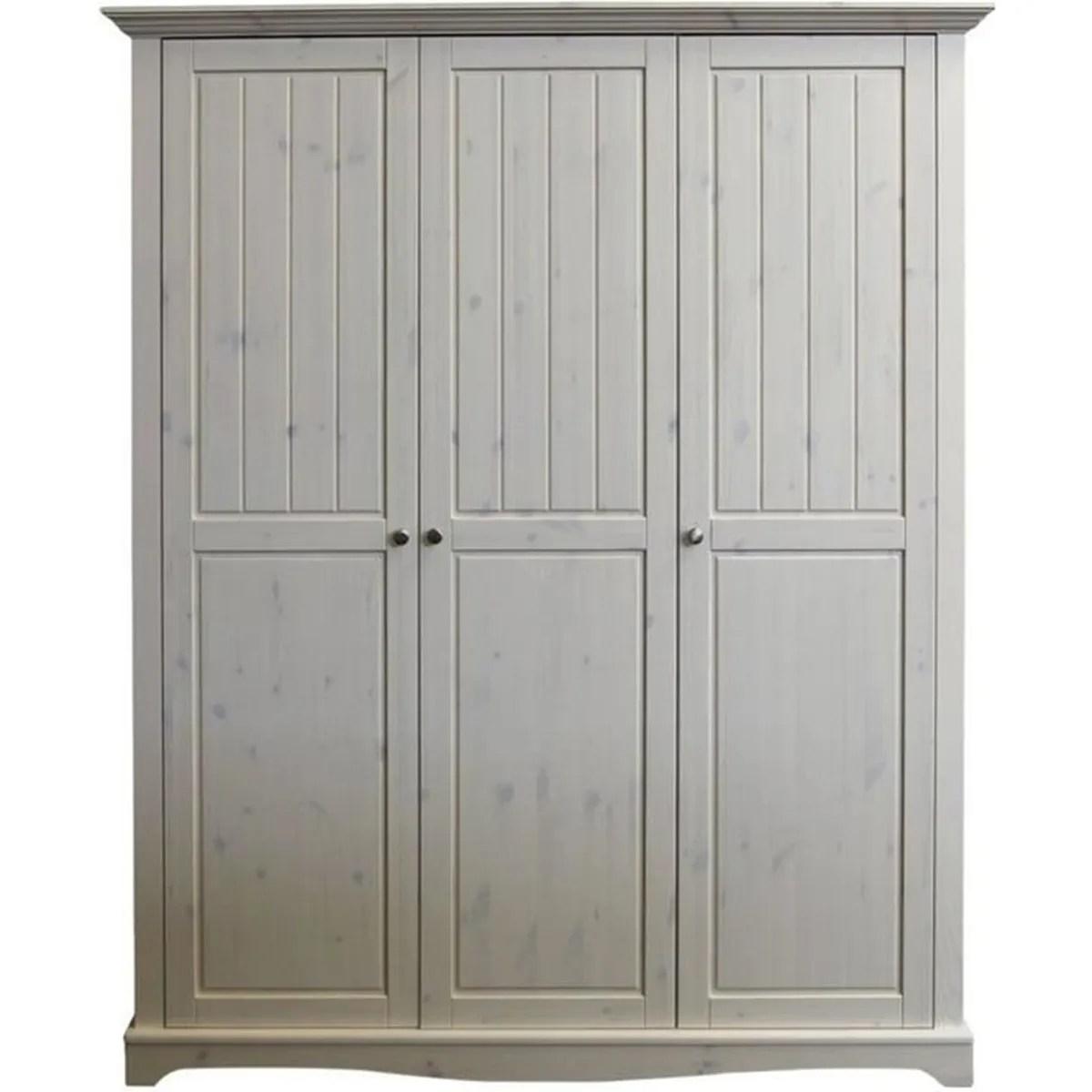 armoire de chambre armoire pin massif chaule blanc dim 170 x