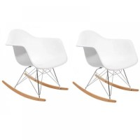 Rocking chair design rtro WOODY blanc. - Achat / Vente ...