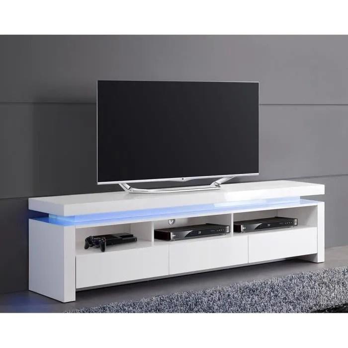Meuble TV Blanc Laqu Lumineux 3 Tiroirs Achat Vente