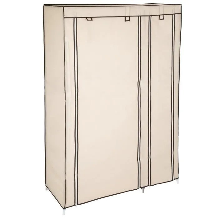 armoire de rangement etagere garde robe meuble penderie a 6 compartiments en tissu 107 cm x 175 cm x 45 cm beige tectake