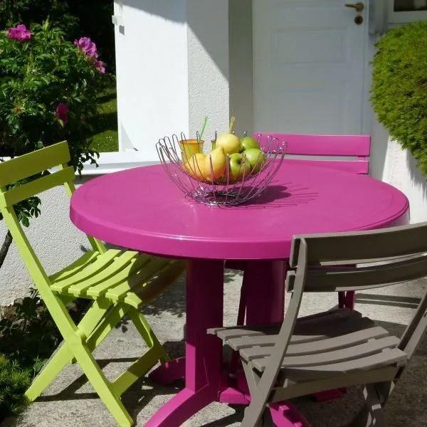 Table ronde de jardin Vega GROSFILLEX  Rose Fushia  Achat  Vente table de jardin Table ronde