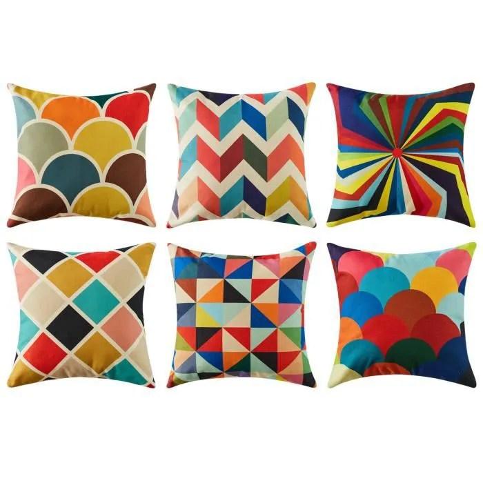 top finel 6 pcs housses de coussin multicolores geometrique coton et lin pour canape oreillers 45x 45cm
